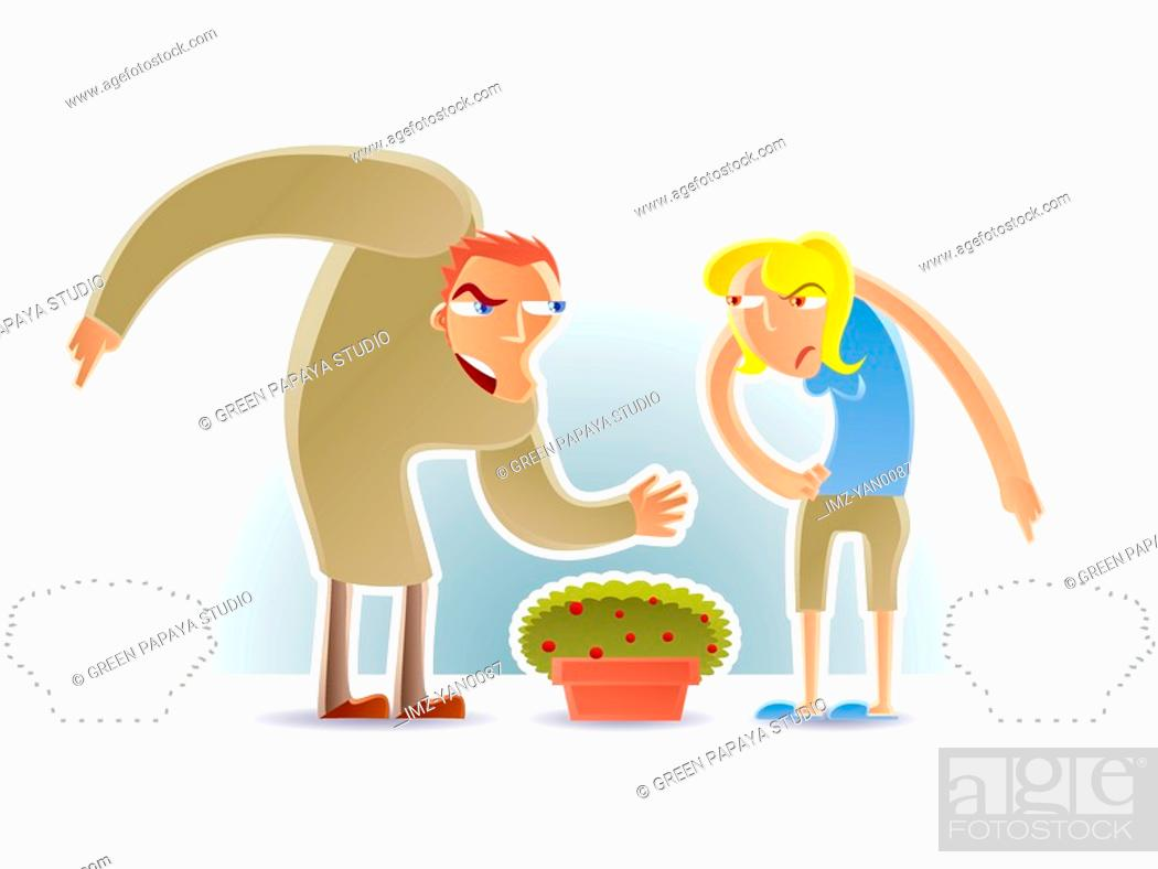 Stock Photo: Two people fighting over belongings.