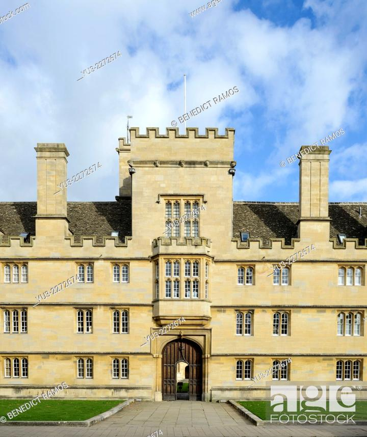 Stock Photo: Front entrance of Wadham College, Oxford University.