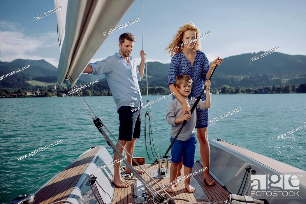 Stock Photo: Family on a sailing trip.