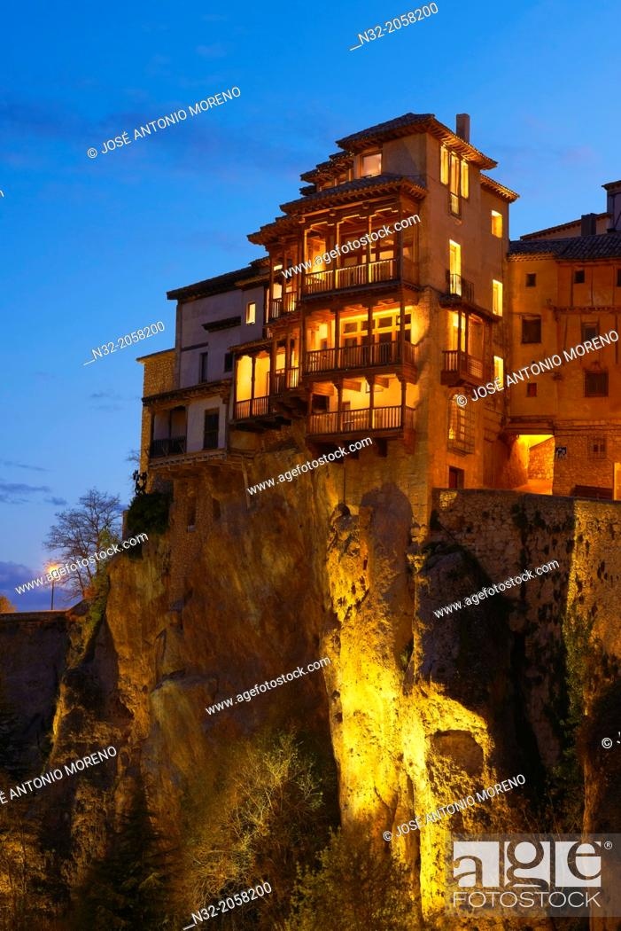 Stock Photo: Cuenca, Casas Colgantes, Hanging houses at dusk, UNESCO World Heritage Site. Castilla-La Mancha. Spain.