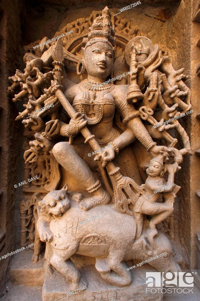 Stock Photo: Statues carved on wall in Heritage architecture , Step well Rani ni Vava , Patan , Gujarat , India.