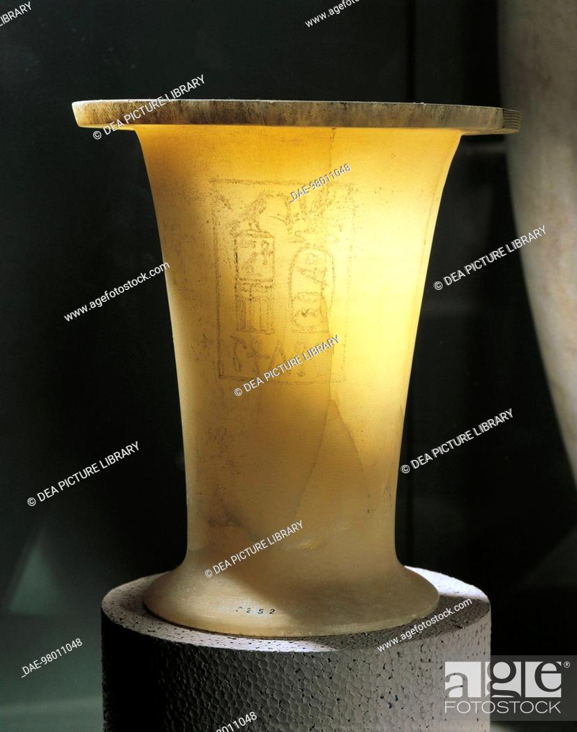 Stock Photo: Egyptian civilization, Old Kingdom, Dynasty VI. Alabaster vase for ointments with the name of pharaoh Merenre Nemtyemsaef II inscribed. Height 15 cm.