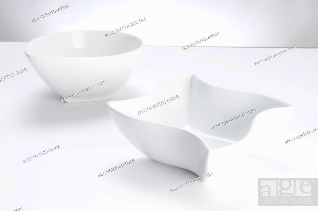 Stock Photo: Close-up of two white ceramic bowls.