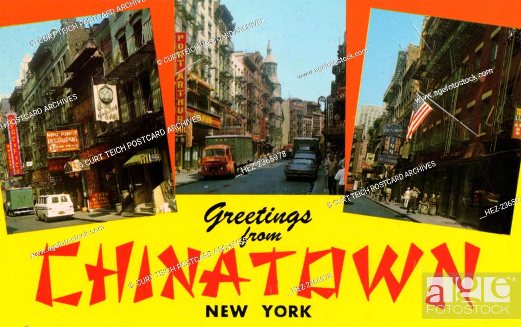 Greetings from chinatown new york postcard 1962 vintage stock photo greetings from chinatown new york postcard 1962 vintage postcard showing three views of new yorks chinatown m4hsunfo
