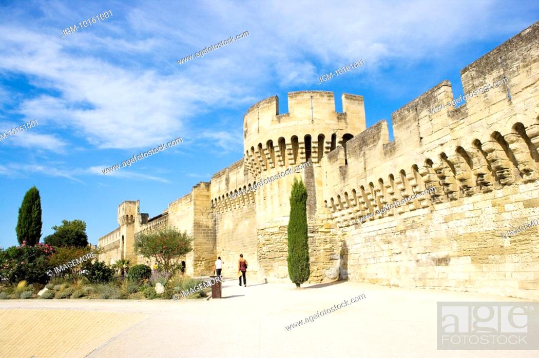 Stock Photo: Fortified Wall in Avignon, Provence-Alpes-Cote d'Azur, France.
