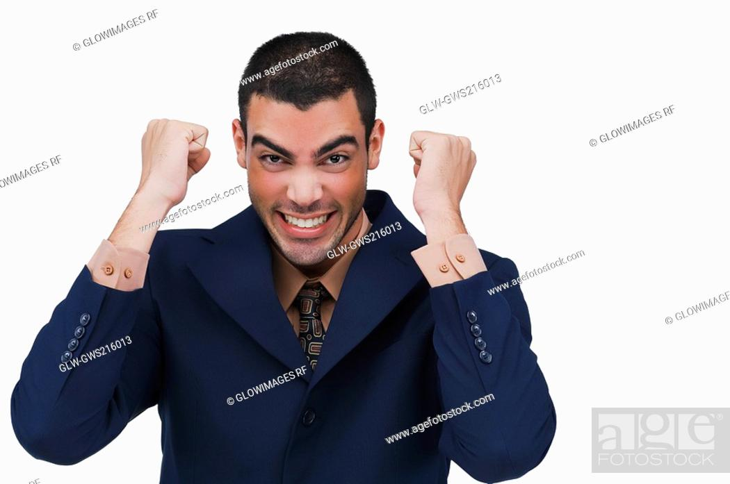 Stock Photo: Portrait of a businessman in excitement.