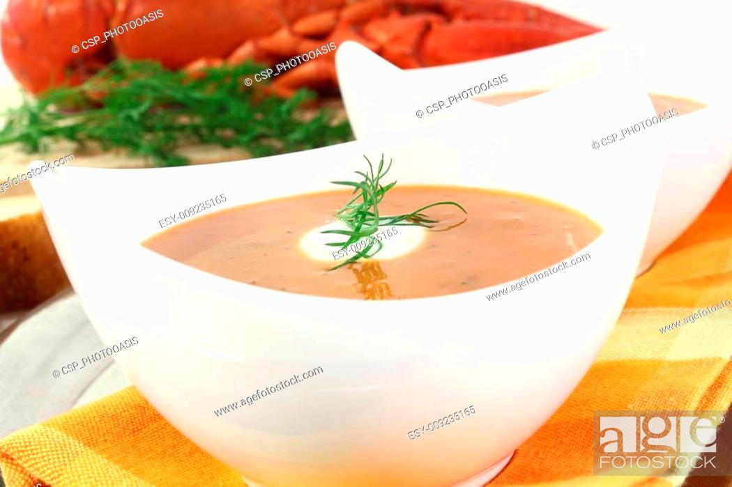 Stock Photo: boiled lobster bisque.