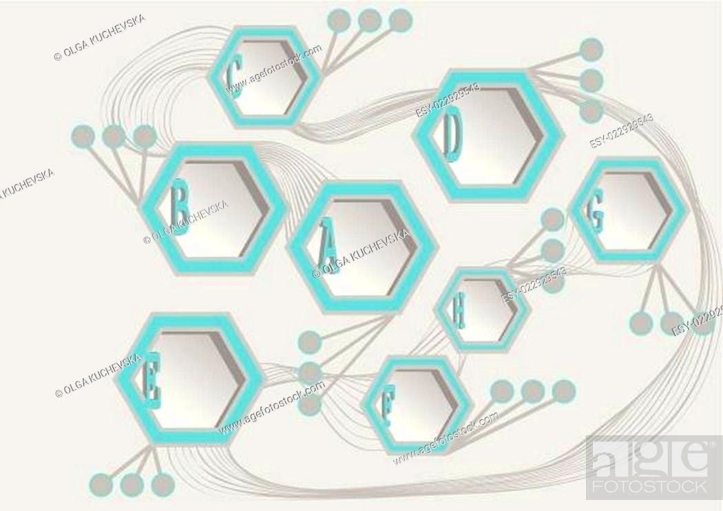 Stock Vector: info hexagons.