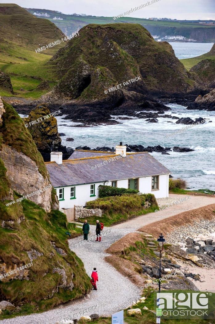 Stock Photo: United Kingdom, Northern Ireland, County Antrim, Ballintoy harbor and coast.