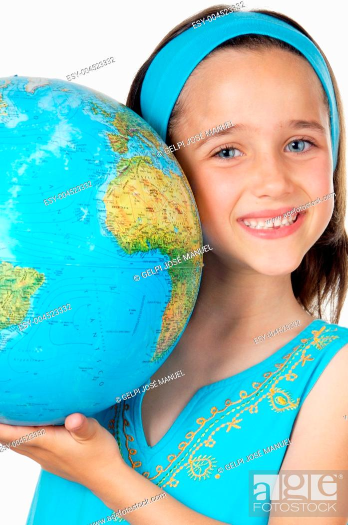 Stock Photo: Girl with a globe of the world.