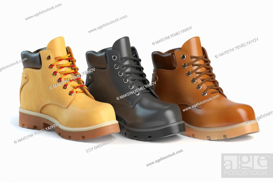 Stock Photo: Different winter boots on a white background. Shoe shop or marketing concept. 3d illustration.