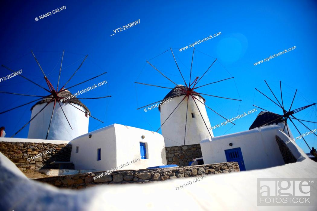 Stock Photo: Traditional windmills (Kato Milli) in Mykonos town, Greece.