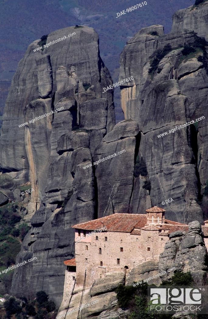 Stock Photo: Holy Monastery of Rousanou (Monasteries of Meteora, UNESCO World Heritage List, 1988), Greece.