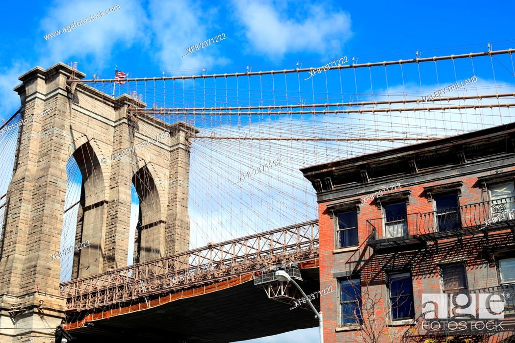 Stock Photo: The Brooklyn bridge, Manhattan, New York City, New York, USA.