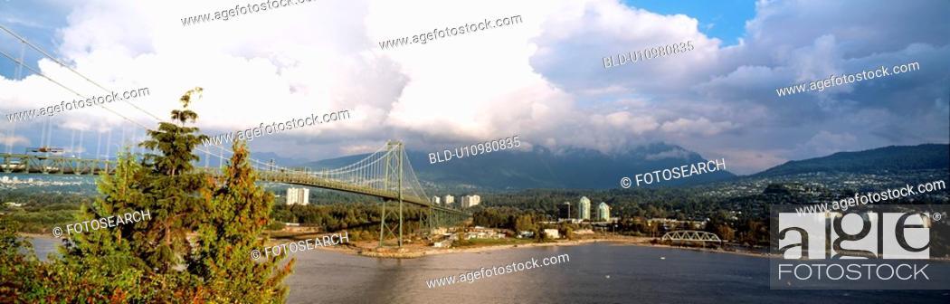 Stock Photo: cloud, tree, sky, river, mountain, panorama.