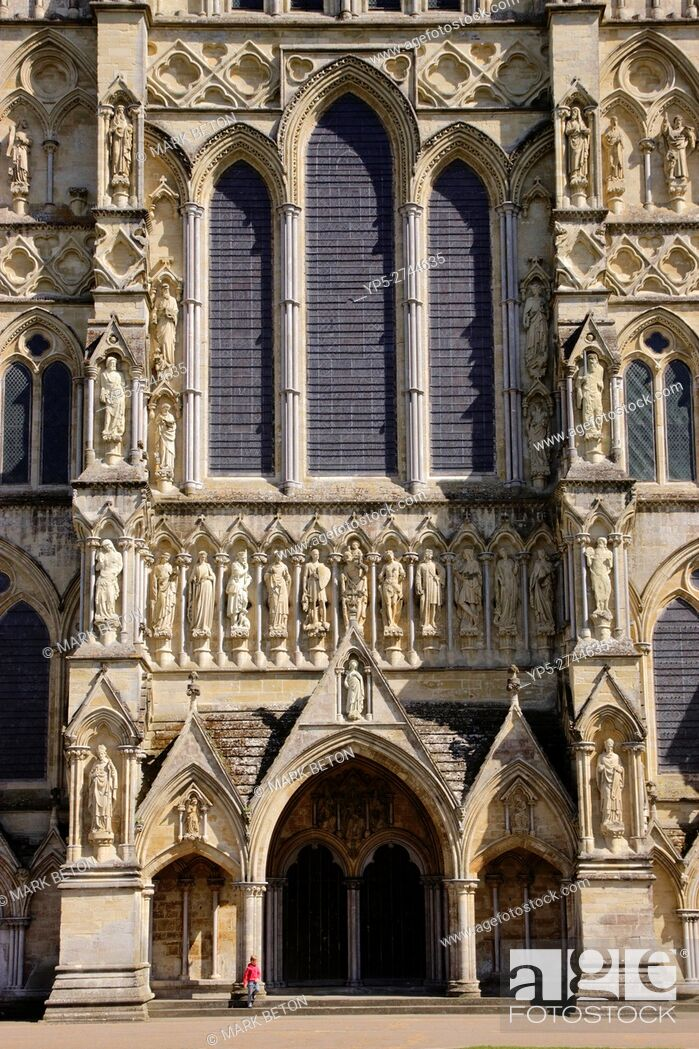 Stock Photo: West Front Salisbury Cathedral Wiltshire.