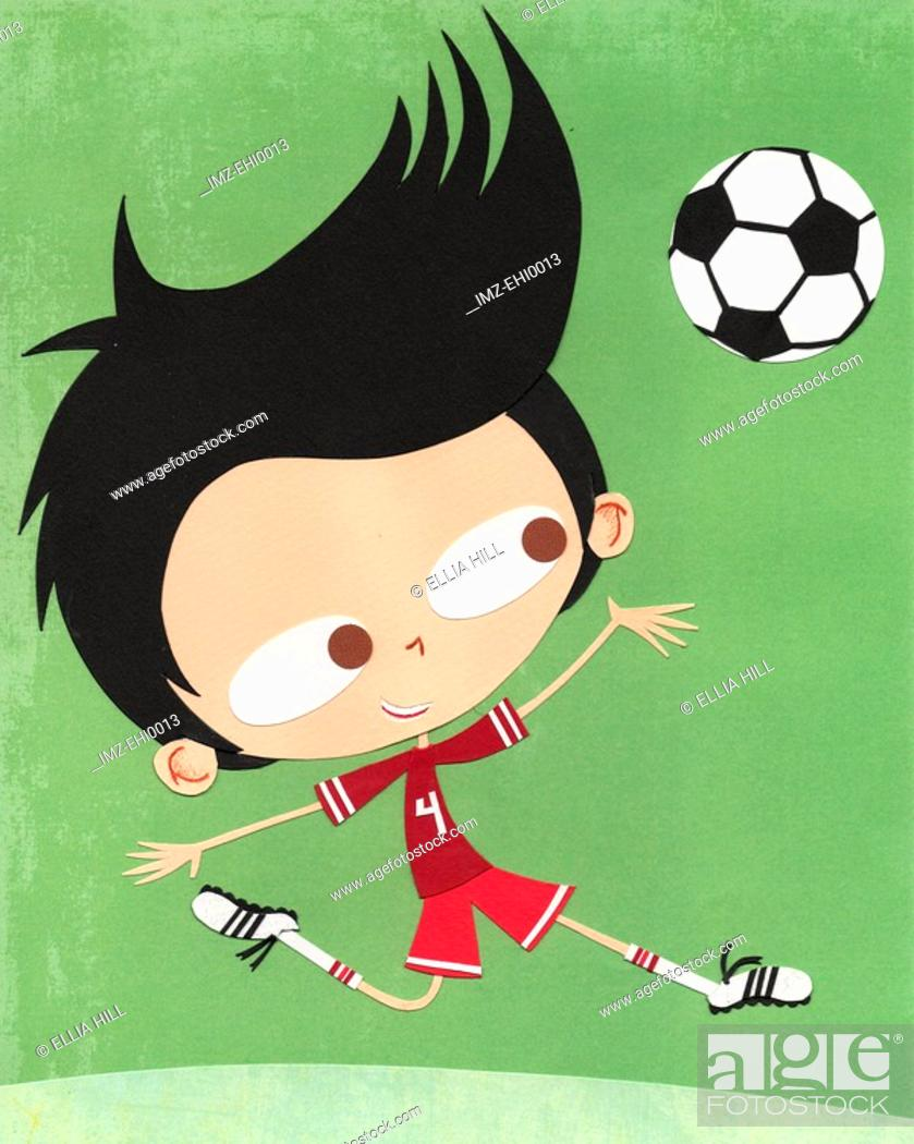 Stock Photo: A paper cut illustration of a boy playing soccer.