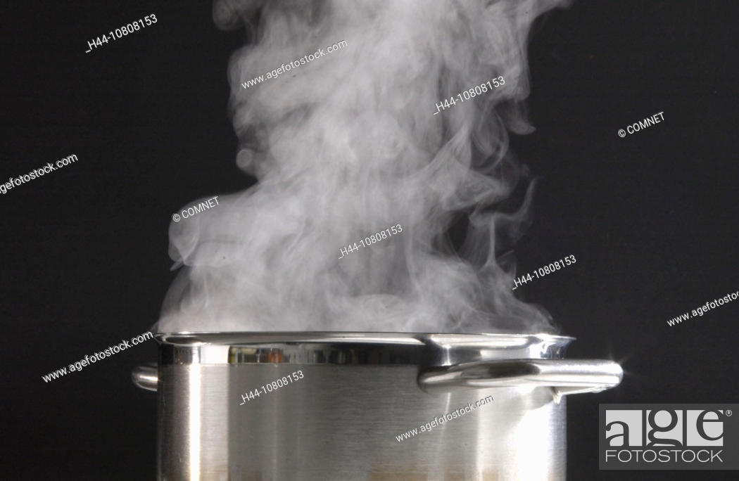 Stock Photo: cooking water, cooker, Cookings, cuisine, food, kitchen, pot, preparation, preparing, saucepan, steam, stove, vapor,.