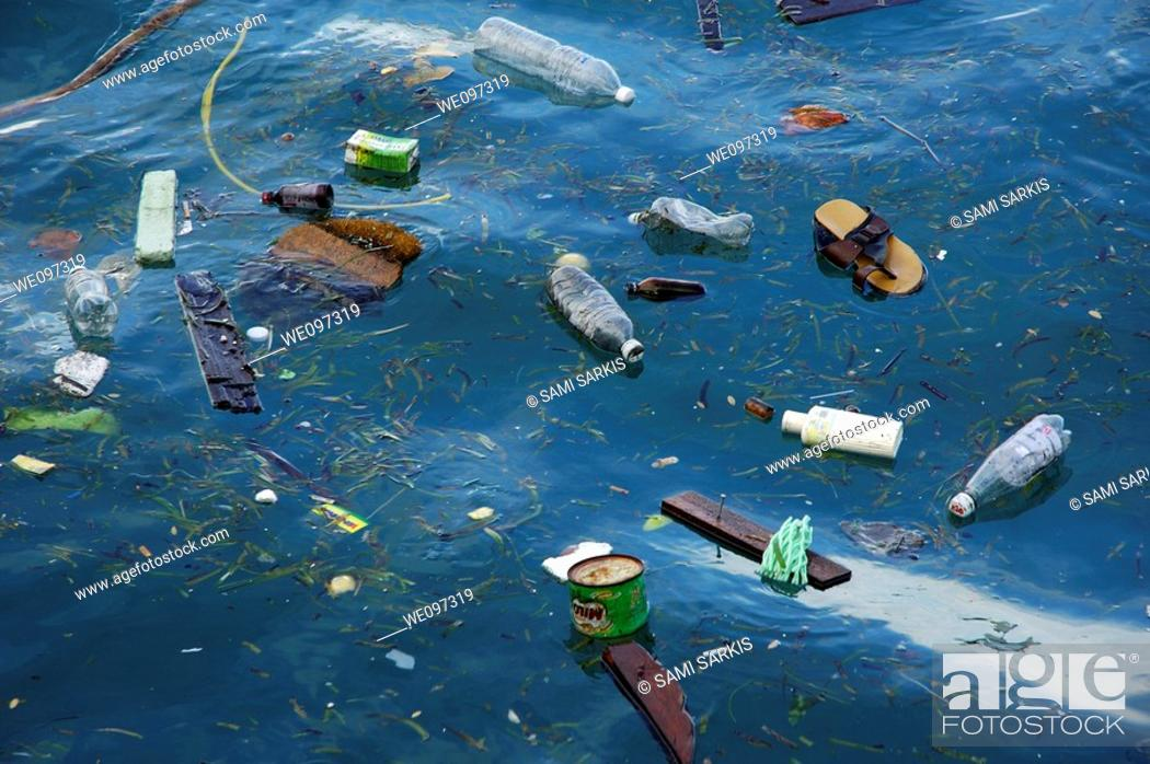 Stock Photo: Plastic bottles and rubbish floating in the sea, Maldives.