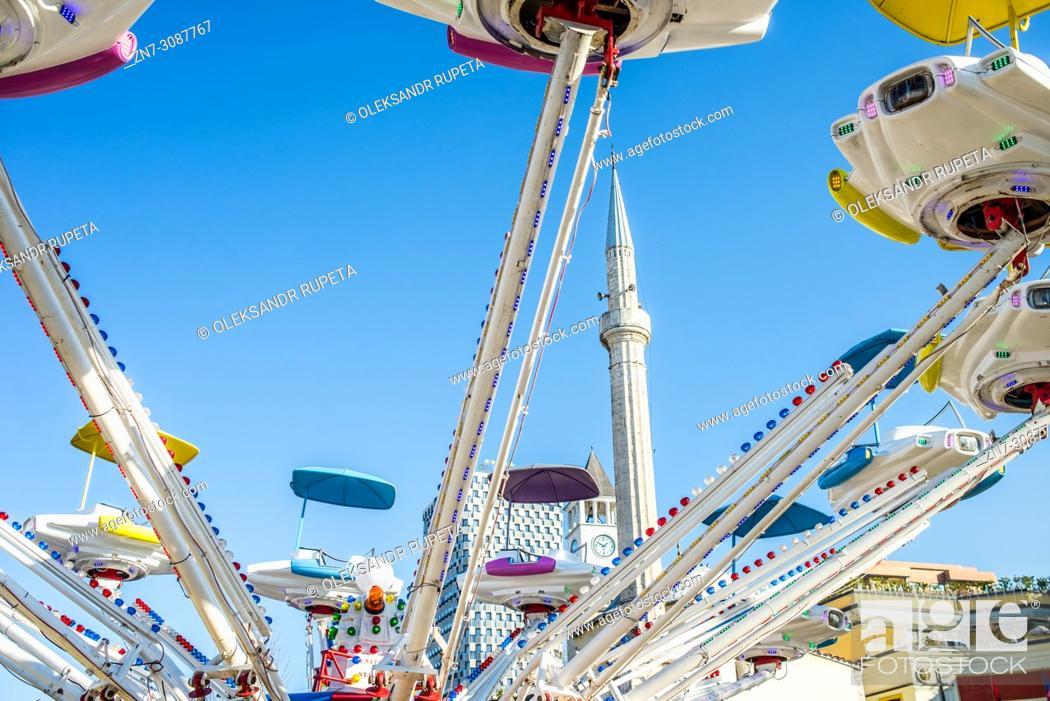 Stock Photo: Amusement park in the central square, Tirana, Albania.