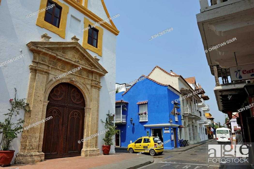 Stock Photo: Santo Toribio Church, Sangerto Mayor street in downtown colonial walled city, Cartagena, Colombia, South America.