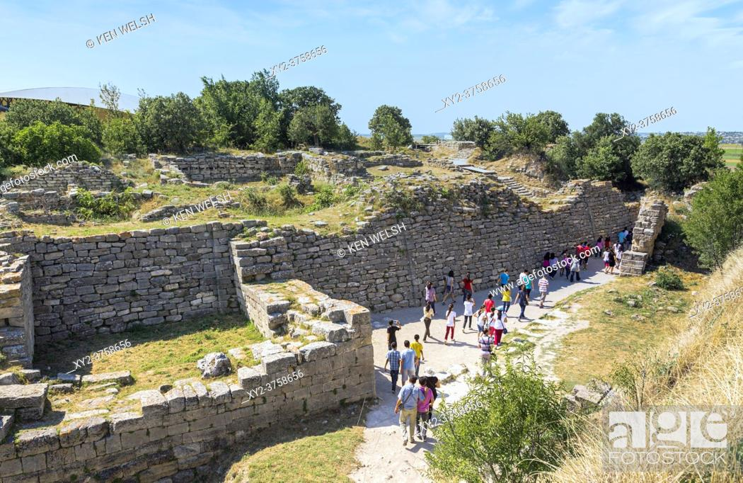 Stock Photo: Troy, Çanakkale Province, Turkey. Ruins of the east wall of the citadel. Troy is a UNESCO World Heritage Site.
