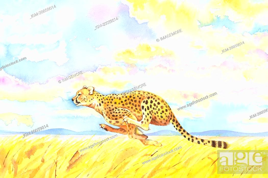 Stock Photo: Animal, Watercolor painting of a leopard running on prairie.