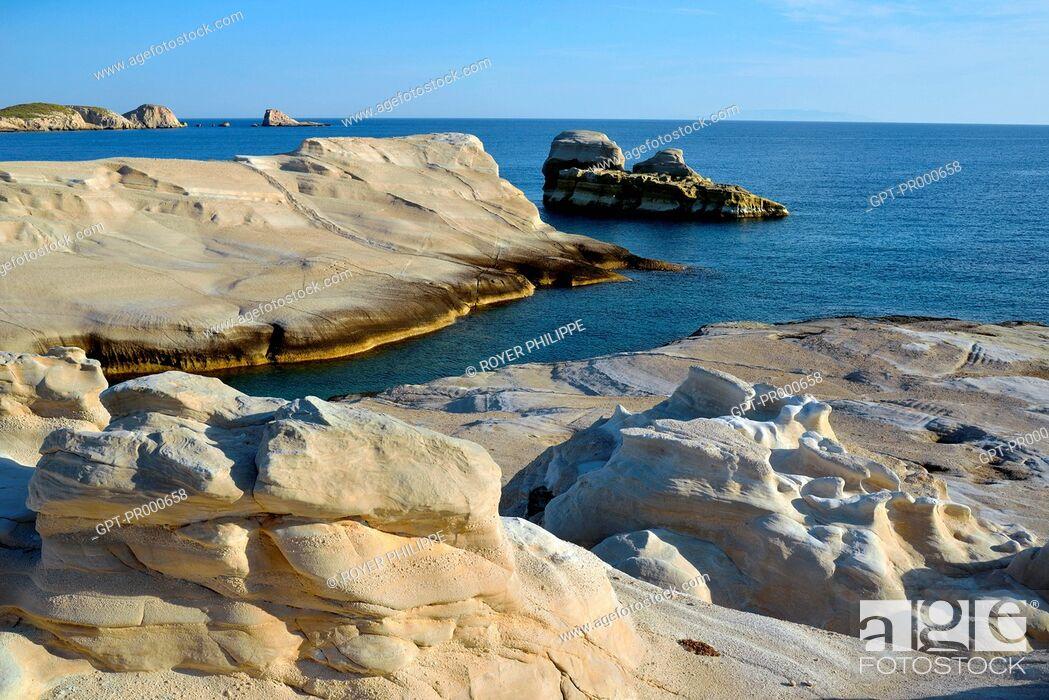 Stock Photo: THE AMAZING MINERAL LANDSCAPE OF SARAKINIKO NEAR ADAMAS ON THE ISLAND OF MILOS, CYCLADES, GREECE.