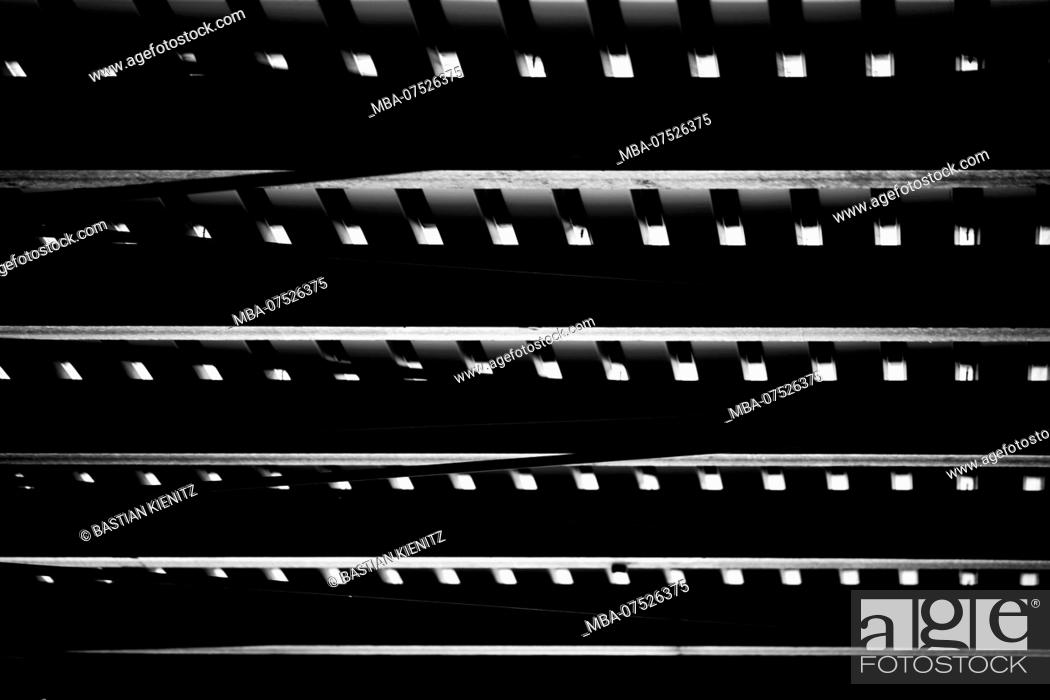 Stock Photo: Detail of metal roof construction with steel joists and roof panels.