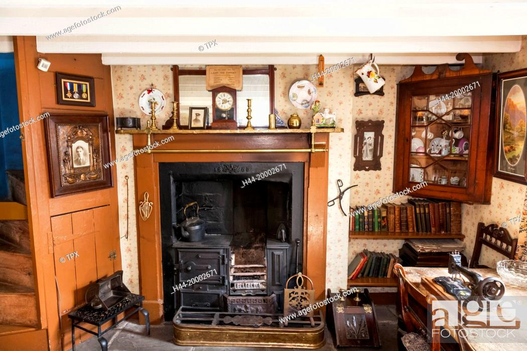 Stock Photo: Wales, Cardiff, St Fagan's, Museum of Welsh Life, Interior display of Early 20th century Cottage.