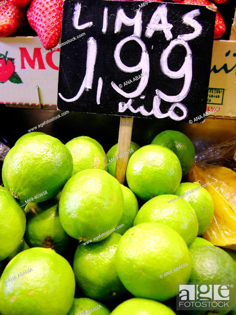 Stock Photo: Limes. La Boquería market. Barcelona. Spain.