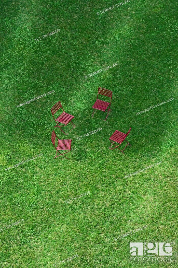 Stock Photo: Massachusetts, Boston, High angle view of empty chairs on grass on Rose Kennedy Greenway.