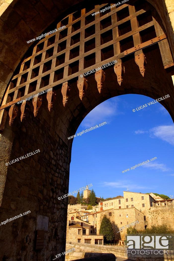 Stock Photo: Besalú from Medieval Bridge, La Garrotxa, Girona, Spain.
