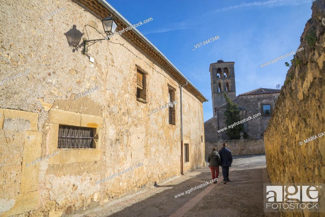 Stock Photo: Calle Mayor, Pedraza, Segovia province, Castile-Leon, Spain.