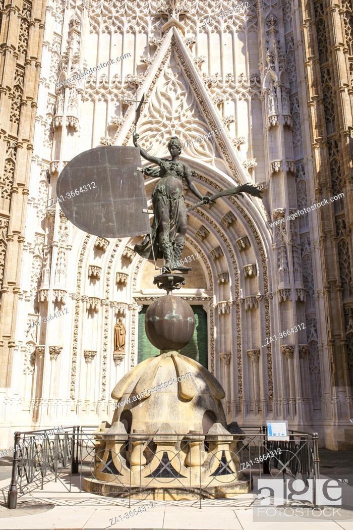 Stock Photo: Statue of the Giraldillo. This weathervane represent the triumph of the Christian faith on the top of La Giralda. Replica. Seville, Spain.