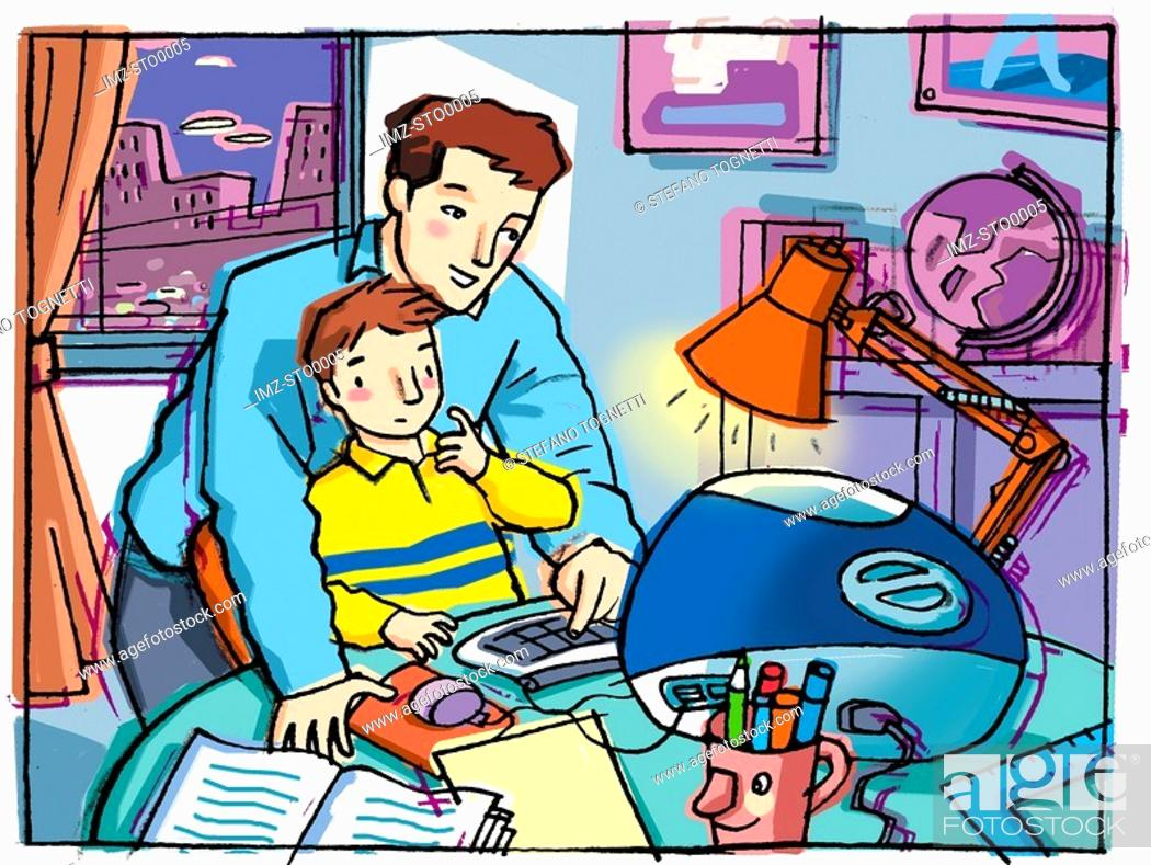 Stock Photo: An Graphic representation of a dad helping his son with homework.
