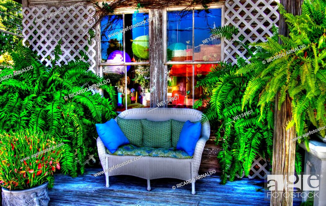 Stock Photo: The Key West flower shop.