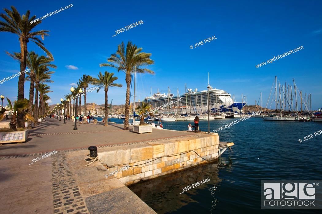 Stock Photo: On background Cartagena cruise terminal, crucero Royal Princess, Harbour, Promenade, Mediterranean Sea Cartagena City, Murcia Region, Spain, Europe.