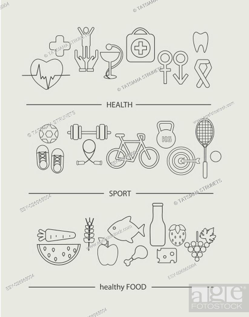 Stock Photo: Modern thin line icons set of healthy lifestyle concept. Simple mono linear pictogram pack of health, food and sport. Stroke vector logo concept for web.