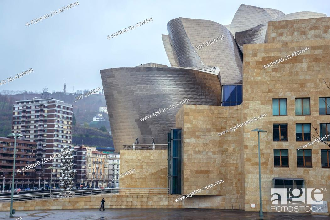 Stock Photo: Guggenheim Museum in Bilbao, the largest city in Basque Country, Spain.