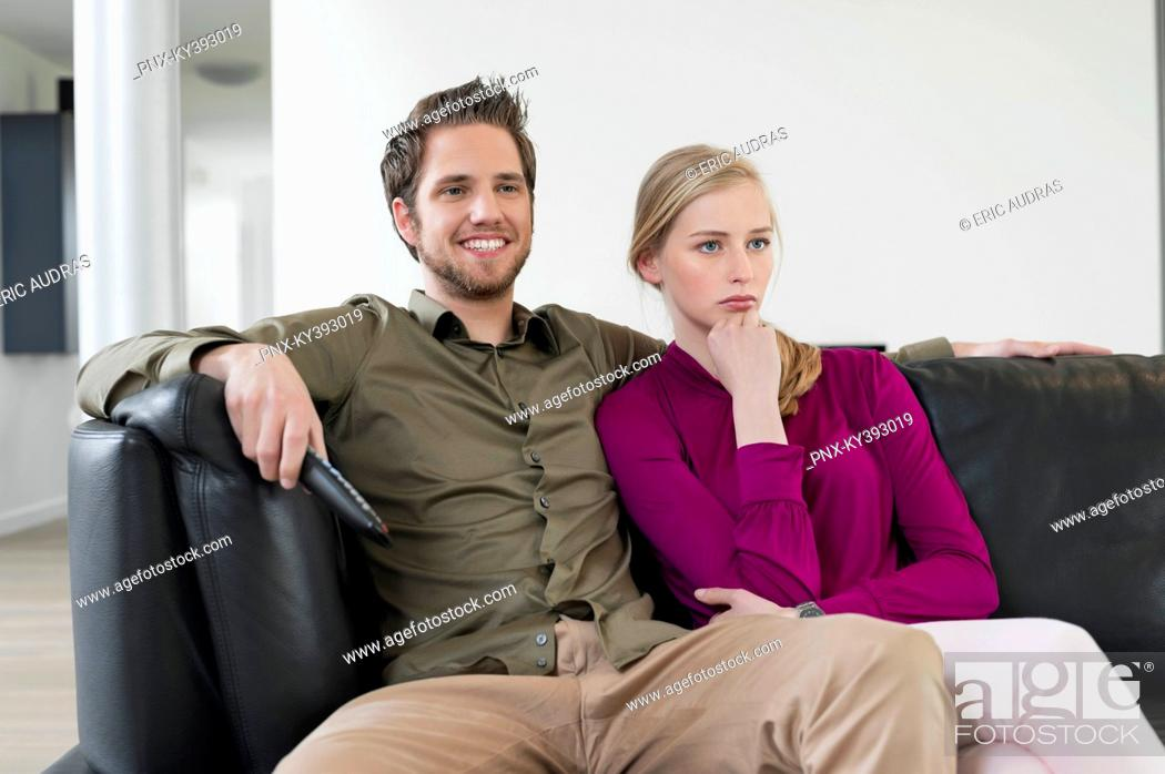 Stock Photo: Couple watching television.