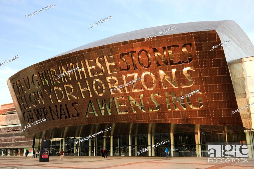 Stock Photo: Roald Dahl Plass, Cardiff Bay Bae Caerdydd, Glamorgan, South Wales, UK, Europe  Millennium Centre arts complex front entrance.