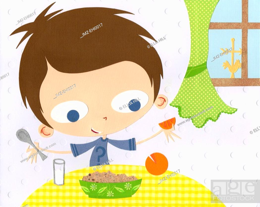 Stock Photo: A paper cut illustration of a boy having milk and eating oatmeal and an orange for breakfast.