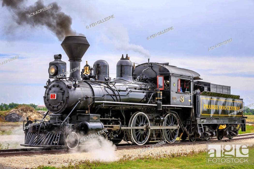 Stock Photo: Vintage steam locomotive No.3 of the Prairie Dog Central Railway, Winnipeg, Manitoba, Canada.