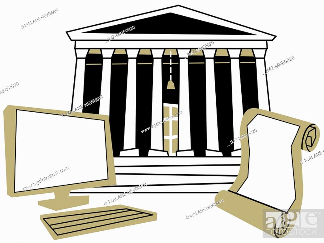 Stock Photo: A computer and a scroll in front of a traditional court house building.