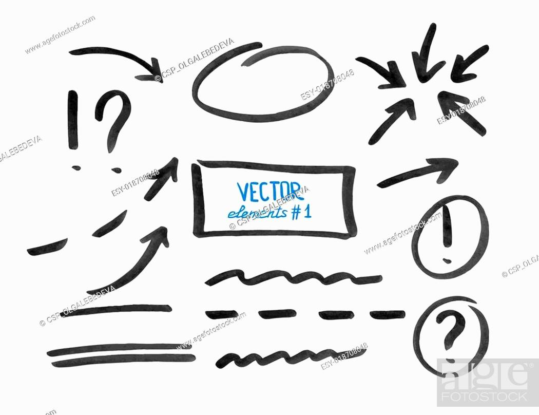 Stock Vector: Set of correction and highlight elements, part 1.
