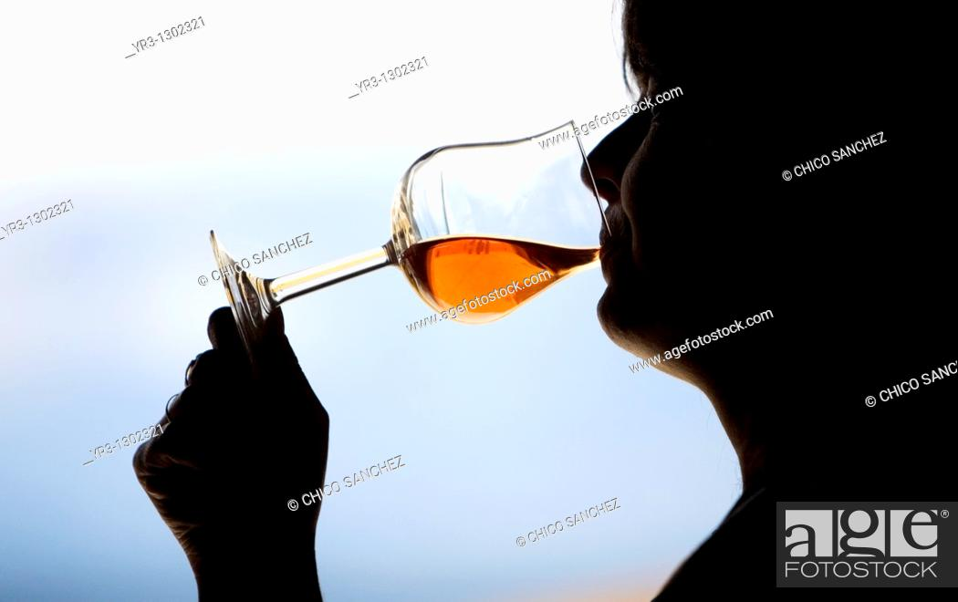 Stock Photo: A woman drinks in a glass of red wine in Taramilla winery in Prado del Rey, Cadiz province, Andalusia, Spain, April 25, 2010.