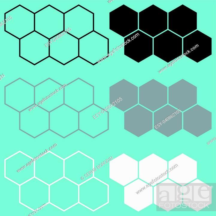 Stock Vector: Hexagon black grey white icon set.
