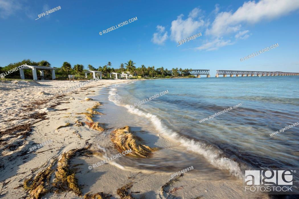 Stock Photo: Old Railway Bridge Calusa Beach Bahia Honda State Park Bahia Honda Key Florida Usa.