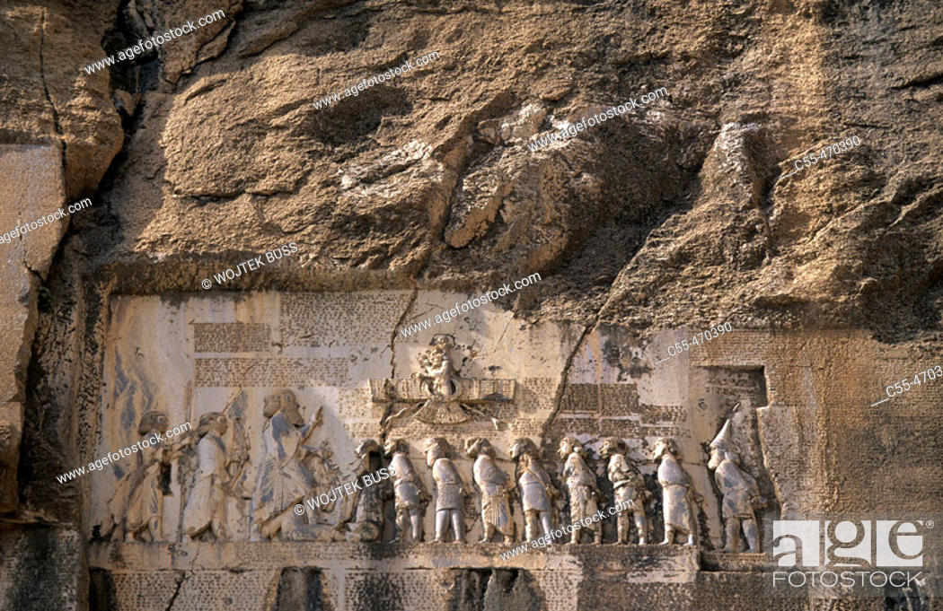 Stock Photo: Relief of the victory of Darius I against the Gaumata magian. Behistun. Iran.